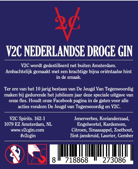 V2C Dry Gin De jeugd Van Tegenwoordig botteling