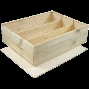 houten kistje met schuifdeksel voor 3 flessen